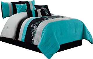 teal black and gray bedding