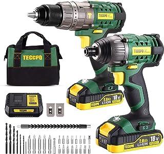 comprar comparacion Taladro Atornillador, TECCPO Professional 60Nm Taladro Bateria, 180Nm Atornillador a Bateria, 2 Baterías 2.0Ah, 30min Carg...