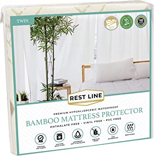 Rest LINE Bamboo Jacquard Waterproof Mattress Protector (Twin/Single), Cooling Technology,Hypoallergenic, Breathable and 1...