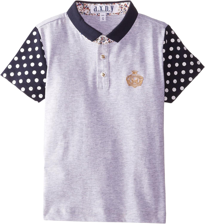 AXNY a.x.n.y Boys' Little Short Sleeve Polo Shirt Large Polka