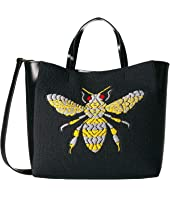 Frances Valentine - Large Bee Embroidery Flat Tote w/ Top-Handle