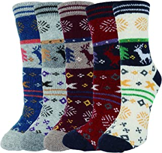 5 Pack Women Girls Fun Fuzzy Christmas Gifts Colorful Indoors Warm Slipper Socks