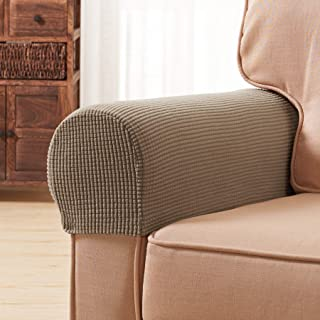 Subrtex Spandex Stretch Fabric Armrest Covers Anti-Slip Furniture Protector Armchair Slipcovers for Recliner Sofa Set of 2 with Free Fixing Tools (Sand with Twist Pins)
