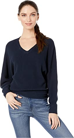 Lanie Cotton Knit Long Sleeve Dolman V-Neck Pullover Sweater