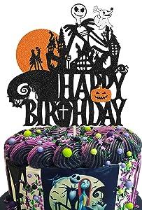 KAPOKKU Glitter Skull Happy Birthday Cake Topper for Cartoon Theme Jack and Sally Skellington Nightmare Before Christmas Theme Wedding Halloween Theme Anniversary Birthday Party Cake Decorations