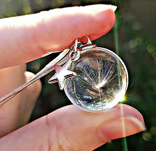 Regalo di Natale Catena in argento sterling collana di tarassaco ciondolo tarassaco Pacco regalo Ciondolo di vetro collana...