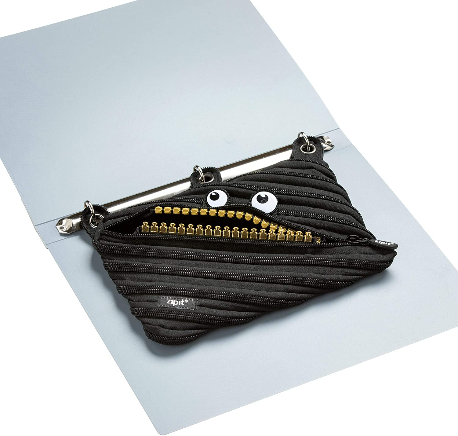 ZIPIT Grillz 3-Ring Binder Pencil Pouch Made of One Long Zipper! Large Capacity Pen Case for Kids and Teens Black