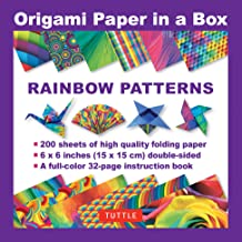 Origami Paper in a Box - Rainbow Patterns: 200 Sheets of Tuttle Origami Paper: 6x6 Inch High-Quality Origami Paper Printed with 12 Different Patterns: 32-page Instructional Book of 12 Projects