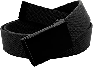 Boy's School Uniform Black Flip Top Military Belt Buckle with Canvas Web Belt