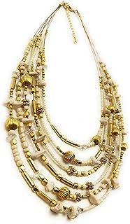 DCA Cream/Gold Glass/Brass Women Necklace (4031)