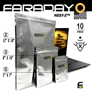 Faraday Cage EMP Bags 10pc - Military Grade, Uber Thick - Solar Flare Bags, 2-Metal Layer, Fully-SPECCED, Heavy Duty Electro-Shielding Kit X-Large Laptop/Notebook