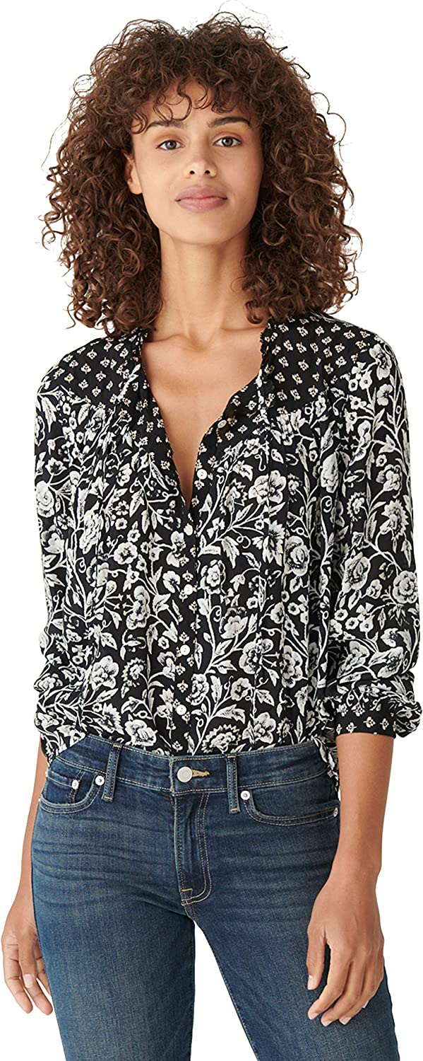 Lucky Brand Women's Long Sleeve Tie Neck Button Up Floral Blouse