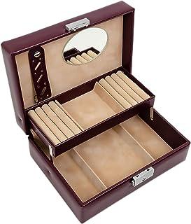 Jewelry Jewelry Box | Genuine Leather Jewellery Organizer | Burgundy Accessories Storage Key Lock Box for Women – Time Res...