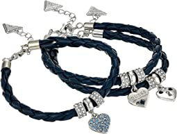 3 Piece Cord Braided Cord Bracelet with Charm