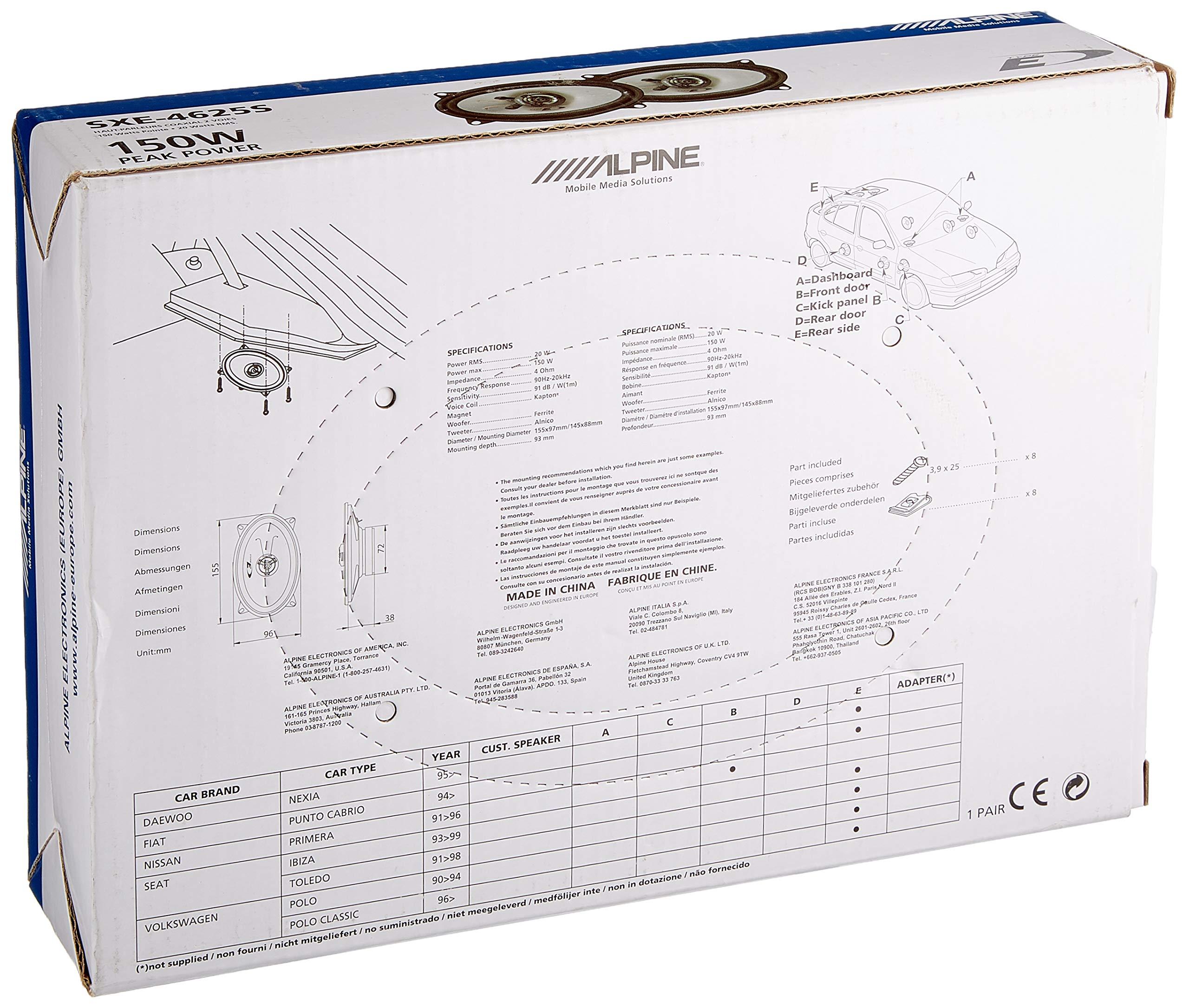 "Coaxial 2-Way Speakers 150W 10X15cm Alpine SXE-4625S 4/""x6/"""