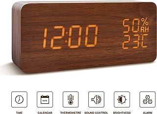 BlaCOG Alarm Clock Digital Desk Wooden Alarm Clock Upgraded with Time Temperature, Adjustable Brightness, 3 Set of Alarm and Voice Control - Brown