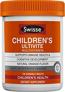 Swisse Ultivite Daily Multivitamin for Children, Orange Flavored  Supports Immune Health & Cognitive Development   for Kids Ages 2-12 Years Old  120 Chewable Tablets