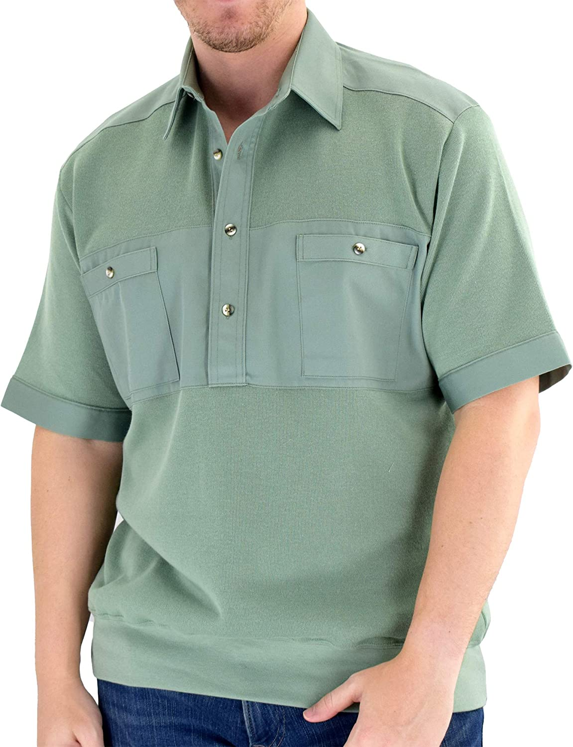 Classics by Palmland Solid Knit Banded Bottom Shirt with Woven Chest Panel 6041-22N Big and Tall
