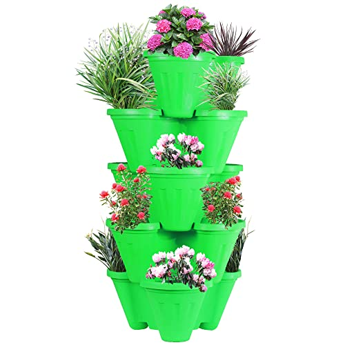 Sharpex Plastic Stack-A-Pot for Floor Set (Planter, 5-Pieces)