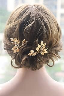 Kercisbeauty Wedding Leaf Leaves Hair Pins for Bride Bridal Bridesmaids Hair Piece Rustic Wedding Prom Vintage Handmade Bobby Pins 2pcs (Gold)