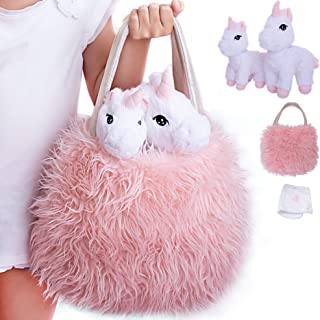 Unicorn Plush Play Set 4 Pcs. Baby and Mommy Unicorns, XL Pink Furry Bag Pet Carrier and Baby Unicorn Blanket. Adorable Plush Toy, Game Unicorn Gift for your Little Girl. Birthday, Christmas Age 2-8