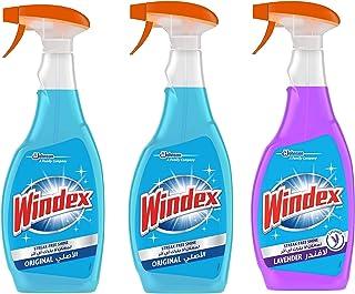 Windex Glass Cleaner 2 Orginal + 1 Lavender, 3 x 750 ml
