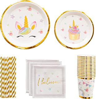 Unicorn Party Supplies Set | Stunning Real Gold Foil | Serves 16 | Bonus Headbands for Party Favors | Perfect for a Girls Unicorn Birthday Party or Unicorn Baby Shower