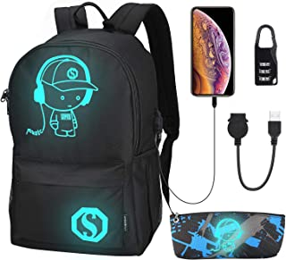 Anime Luminous Backpack, School Backpack Casual Daypack for Boys and Girls, Laptop Backpack with USB Charging Port and Lock Fits 15.4 Inch Notebook