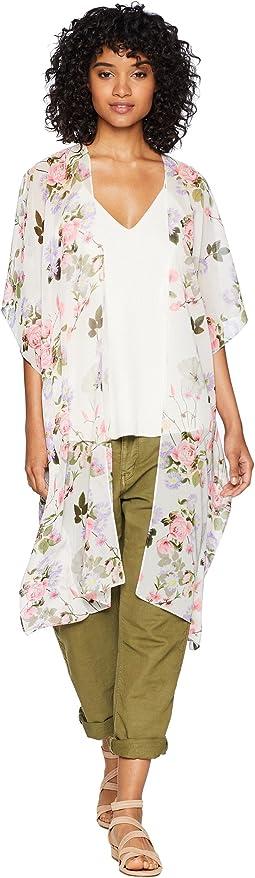 Garden Floral Print Kimono
