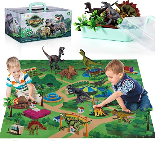 popular TEMI Dinosaur Toy Figure w/ Activity high quality Play Mat & Trees, Educational Realistic Dinosaur Playset to Create a online sale Dino World Including T-Rex, Triceratops, Velociraptor, Perfect Gifts for Kids, Boys & Girls online sale