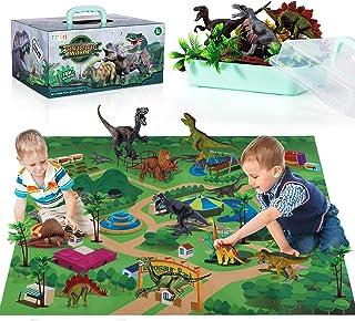 TEMI Dinosaur Toy Figure w/ Activity Play Mat & Trees, Educational Realistic Dinosaur Playset to Create a Dino World Inclu...