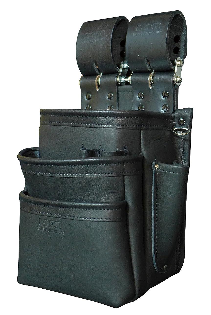 充電直感識字KNICKS(ニックス) KB-301SPDX 自在型チェーンタイプ総グローブ革3段腰袋(ブラック)