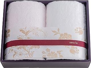今治タオルブランド sara-la (さらら) 「彩-irodori-」 フェイスタオル2枚 ギフトセット (ピンク/ホワイト) 日本製