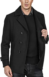 Men's Stylish Slim Fit Lapel Collar Double Breasted Wool Blends Coat