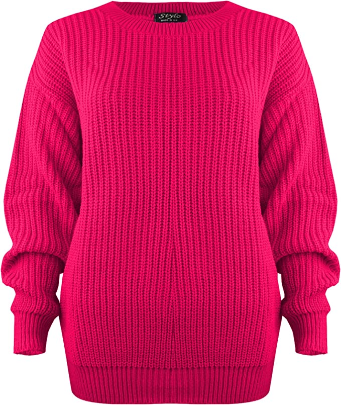 Vanilla Inc /® Kids Girls Boys Unisex Plain Chunky Knit Baggy Jumper Sweater Age 7-13