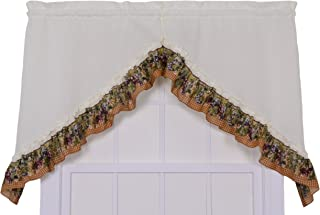 Ellis Curtain Kitchen Collection Tuscan Hills Grapes 60 by 35-Inch Ruffled Swag Curtains, Natural