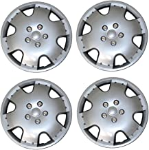 TuningPros WSC3-720S15 4pcs Set Snap-On Type (Pop-On) 15-Inches Metallic Silver Hubcaps Wheel Cover