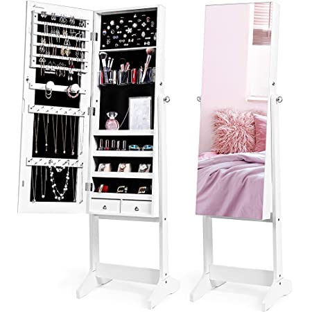 Nicetree Jewelry Cabinet With Full Length Mirror Standing Lockable Jewelry Armoire Organizer 3 Angel Adjustable White Home Kitchen