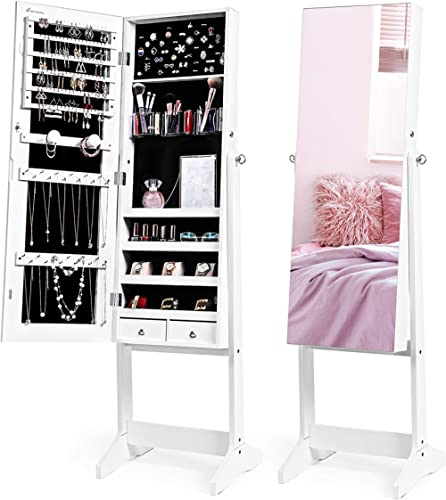Nicetree Jewelry Cabinet with Full-Length Mirror, Standing Lockable Jewelry Armoire Organizer, 3 Angel Adjustable (Wh...