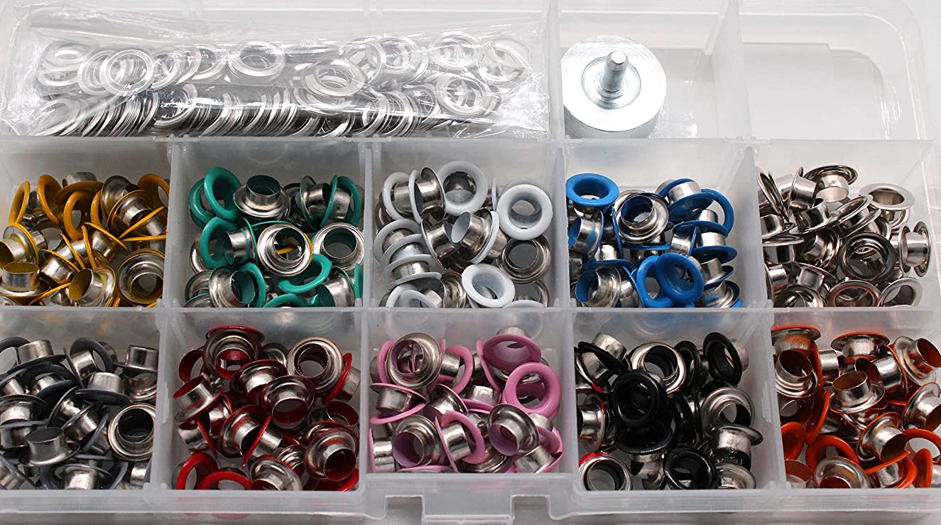 400Pcs 6mm Metal Grommet Kit,Multi-Color Eyelets and Grommet Sets Spray Paint Air Hole Spray Paint Corn Eye Buckle Shoe Eye Buckle and Air Hole Installation Tools for Shoes Clothes Crafts Metal Eyelet