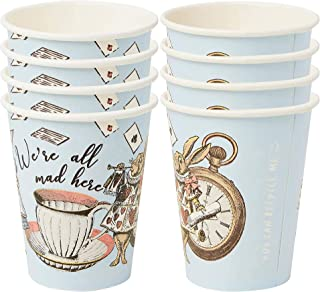 Pack of 8 Blue Alice in Wonderland Paper Cups | Disposable Tableware, Home Recyclable | Supplies For Mad Hatter Tea Party,...