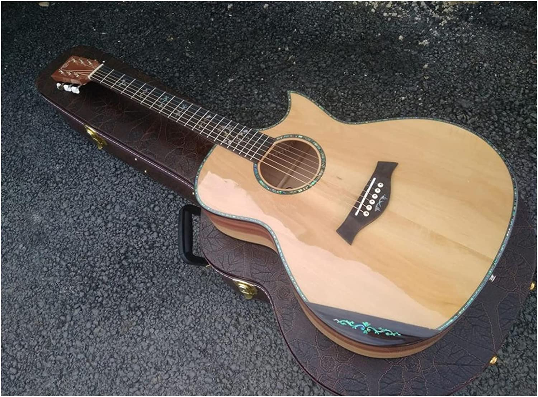 Guitarra Toda la guitarra de madera de manzana europea sólida. GEORGIA Cortaway Custom Florestentent Armrest 14 Frete Guitarra acústica Apto para jugadores en todas las etapas. guitarra de madera AMIN