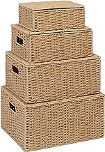Storage Basket Hamper (Set of 4) – Storage Bin with Lid & Insert Handle for Easy Carrying – Convenient Storage Organizer B...