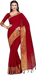 MIMOSA Women's Kanchipuram Linen Saree With Unstitched Blouse Piece (13_Maroon)