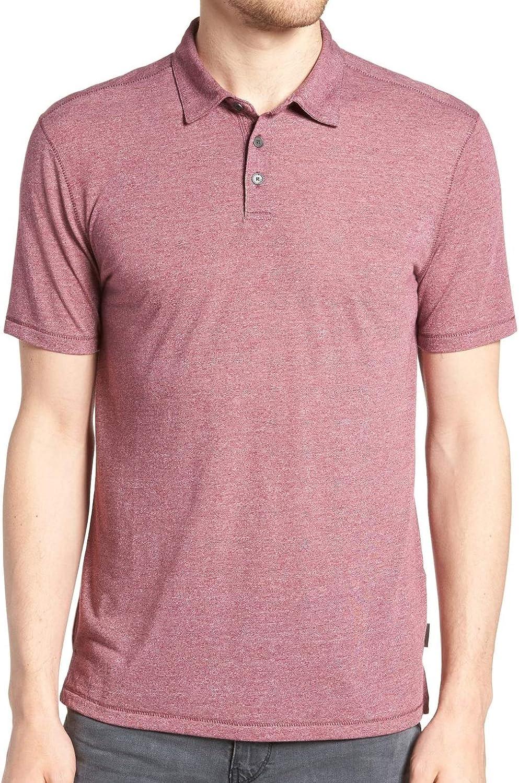 John Varvatos Men's Short Sleeve 3 Button Melange Polo Shirt