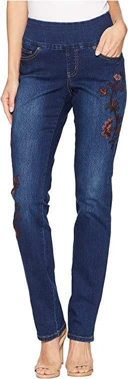 Peri Straight Pull-On Jeans w/ Embroidery in Flatiron
