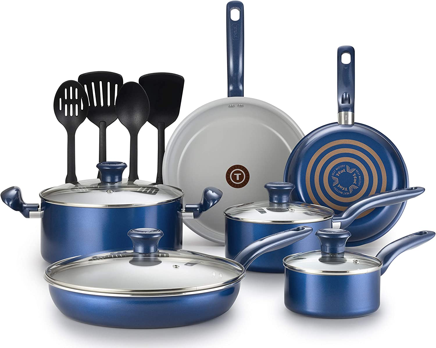 T-fal G918SE64 Initiatives Ceramic Thermo-Spot Heat Indicator Dishwasher Oven Safe Toxic Free Cookware Set, 14-Piece, bluee