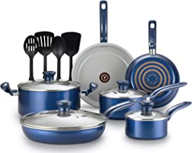 T-fal G918SE64 Initiatives Ceramic Thermo-Spot Heat Indicator Dishwasher Oven Safe Toxic Free Cookware Set, 14-Piece, Blue