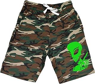 Men's Alien Probe Peace Fingers V357 Camo Fleece Jogger Sweatpant Gym Shorts