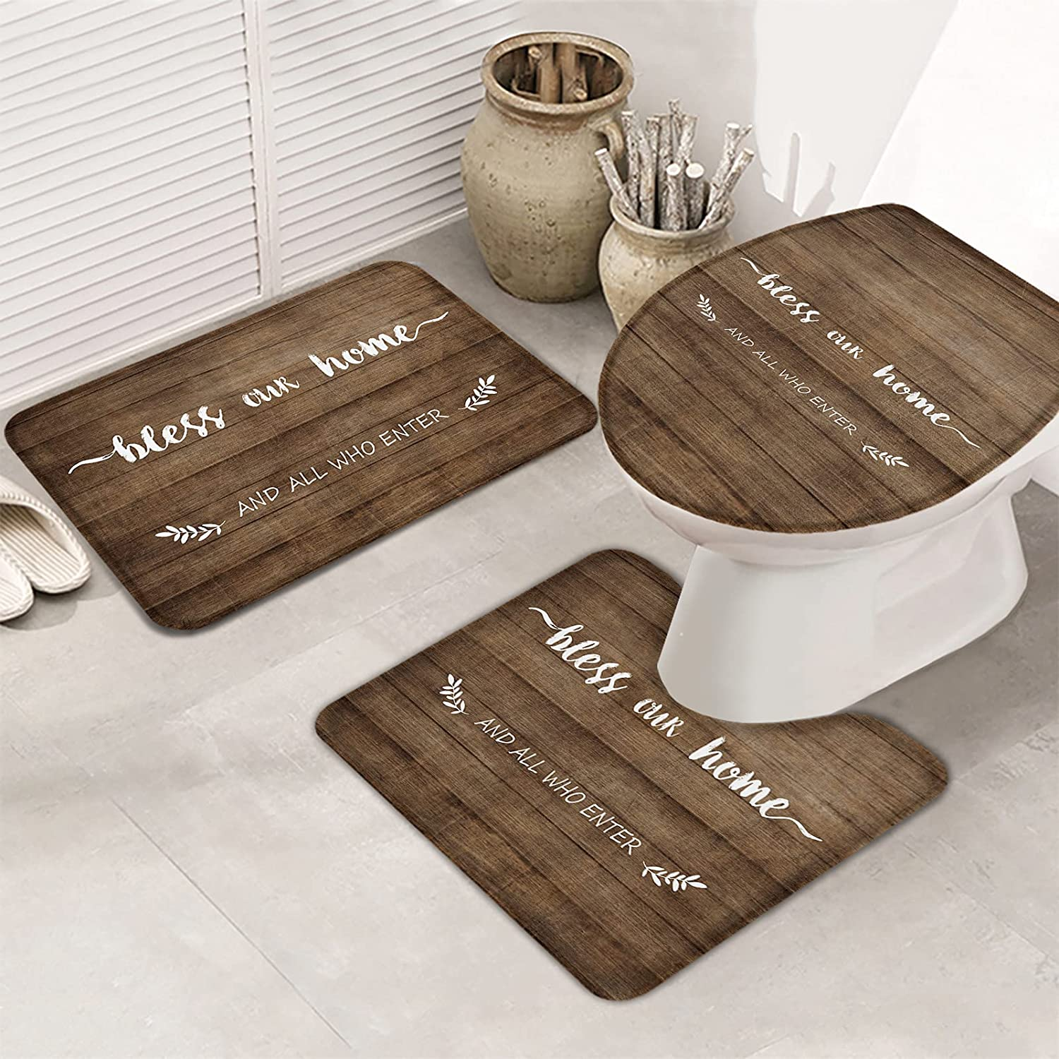 3 Pieces Bath Rug Set Toilet Seat Cover Sale special price Cheap sale W Our and All Bless Home
